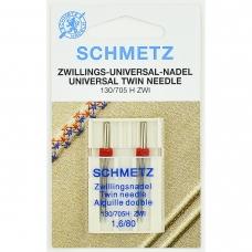 Голка подвійна універсальна Schmetz Twin Universal №80 / 1.6 фото