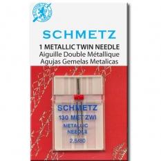 Голка подвійна Schmetz Metallic Embroidery №80 / 2.5 фото