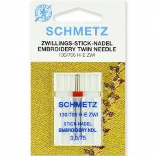 Голка подвійна вишивальна Schmetz Twin Embroidery №75 / 3.0 фото