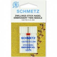 Игла двойная вышивальная Schmetz Twin Embroidery №75/3.0 фото