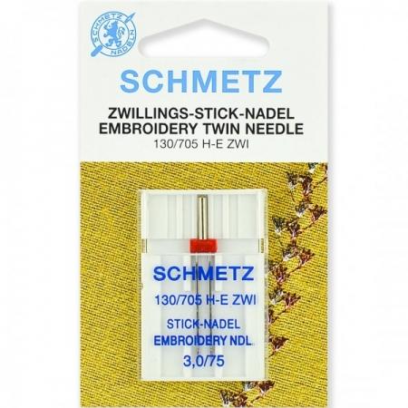 Голка подвійна вишивальна Schmetz Twin Embroidery №75 / 3.0