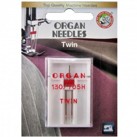 Голка подвійна універсальна Organ Twin №80/4.0