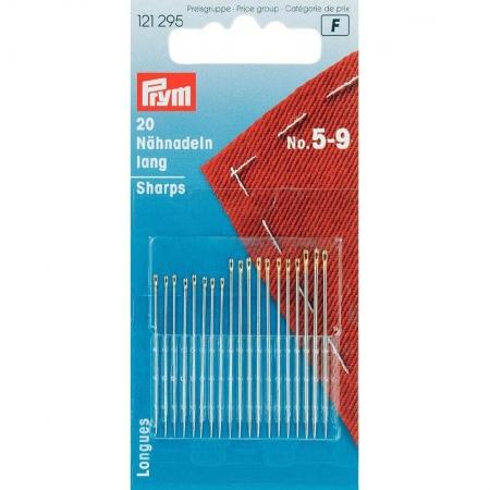 Голки Prym 121295 для шиття довгі нікельовані №5-9