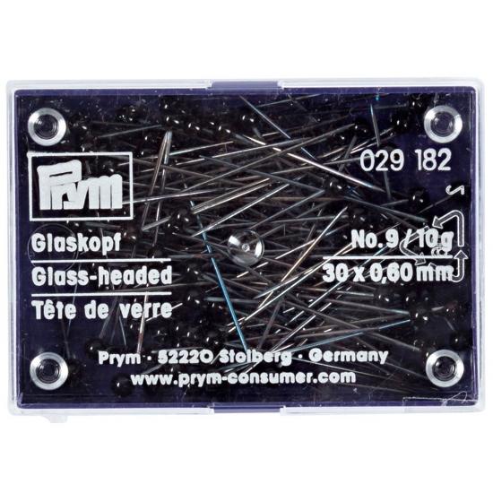 Булавки Prym 029182 со стеклянными головками черные