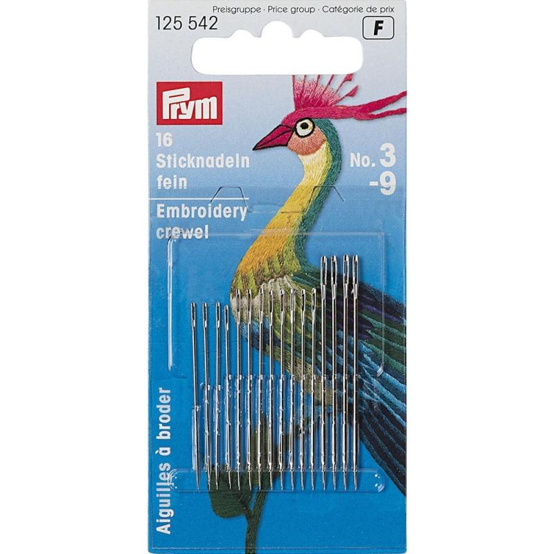 Иглы Prym 125542 для вышивания тонкие №3-9