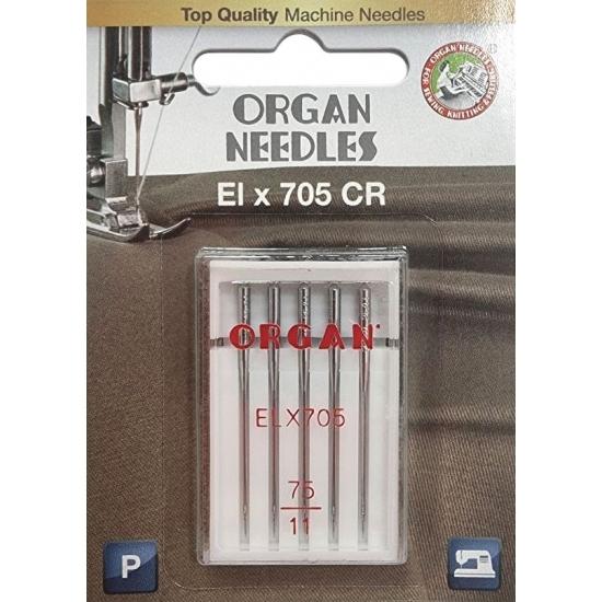 Иглы для оверлока Organ ELx705 CR PB №75 5 штук