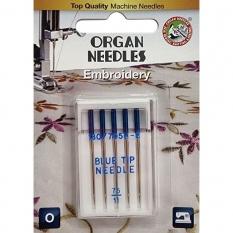 Голки для вишивки Organ Embroidery з блакитною колбою №75 фото