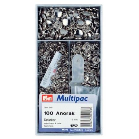 Кнопки Prym Anorak 15мм серебристые Multipuc 390260