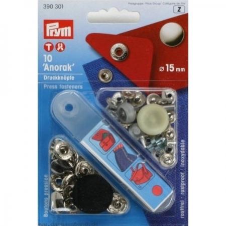 Кнопки Prym Anorak 15мм серебристые 390301
