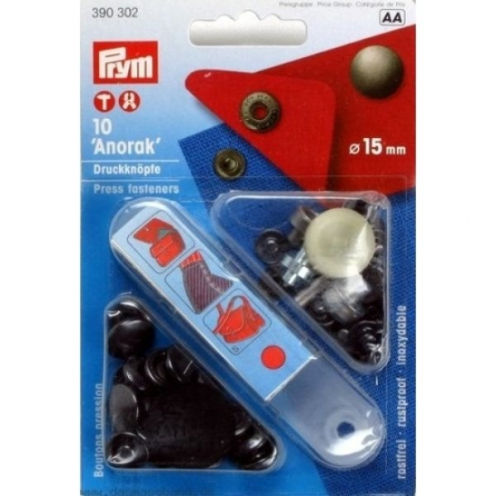 Кнопки Prym Anorak 15мм черный 390302