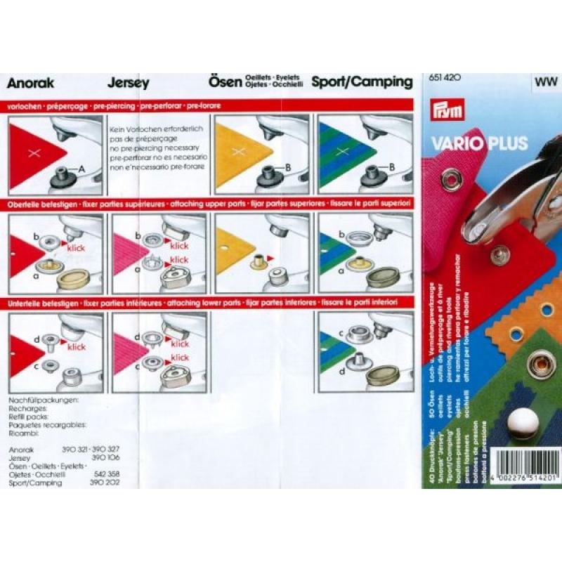 Набор кнопок со щипцами Prym Vario Plus 651420