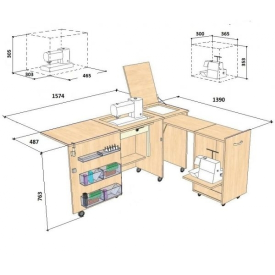 Стол для швейной машины и оверлока Комфорт 3