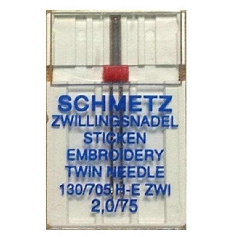 Подвійна вишивальна голка Schmetz Embroidery №75/2,0