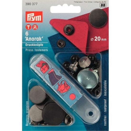 Кнопки Prym Anorak 20мм черные 390377