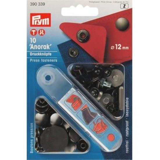 Кнопки Prym Anorak 12мм черный 390339