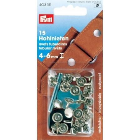 Клепки серебристые с отверстием 9 мм для толщины ткани 4-6 мм Prym 403151