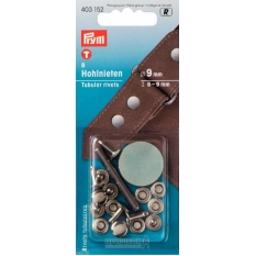 Клепки серебристые с отверстием для толщины ткани 6-9мм Prym 403152 фото